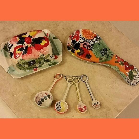 Anthropologie Handpainted Amaryllis Set Brand New. Set Includes Painted  Amaryllis Butter Dish, Spoon Rest Nice Ideas