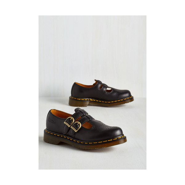 Dr. Martens Vintage Inspired Hop, Skip, and a Punk Flat (€98) ❤ liked on Polyvore featuring shoes, flats, black, flat, oxford flat, black oxfords, mary-jane shoes, black oxford flats, dr martens mary janes and black mary jane shoes