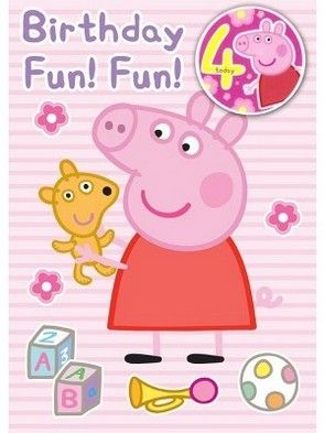 Peppa Pig 4th Birthday Card For Your Little One More Peppa Pig Party Supplies At Partyweb Us Peppap Peppa Pig Birthday Peppa Pig Party Supplies Pig Birthday