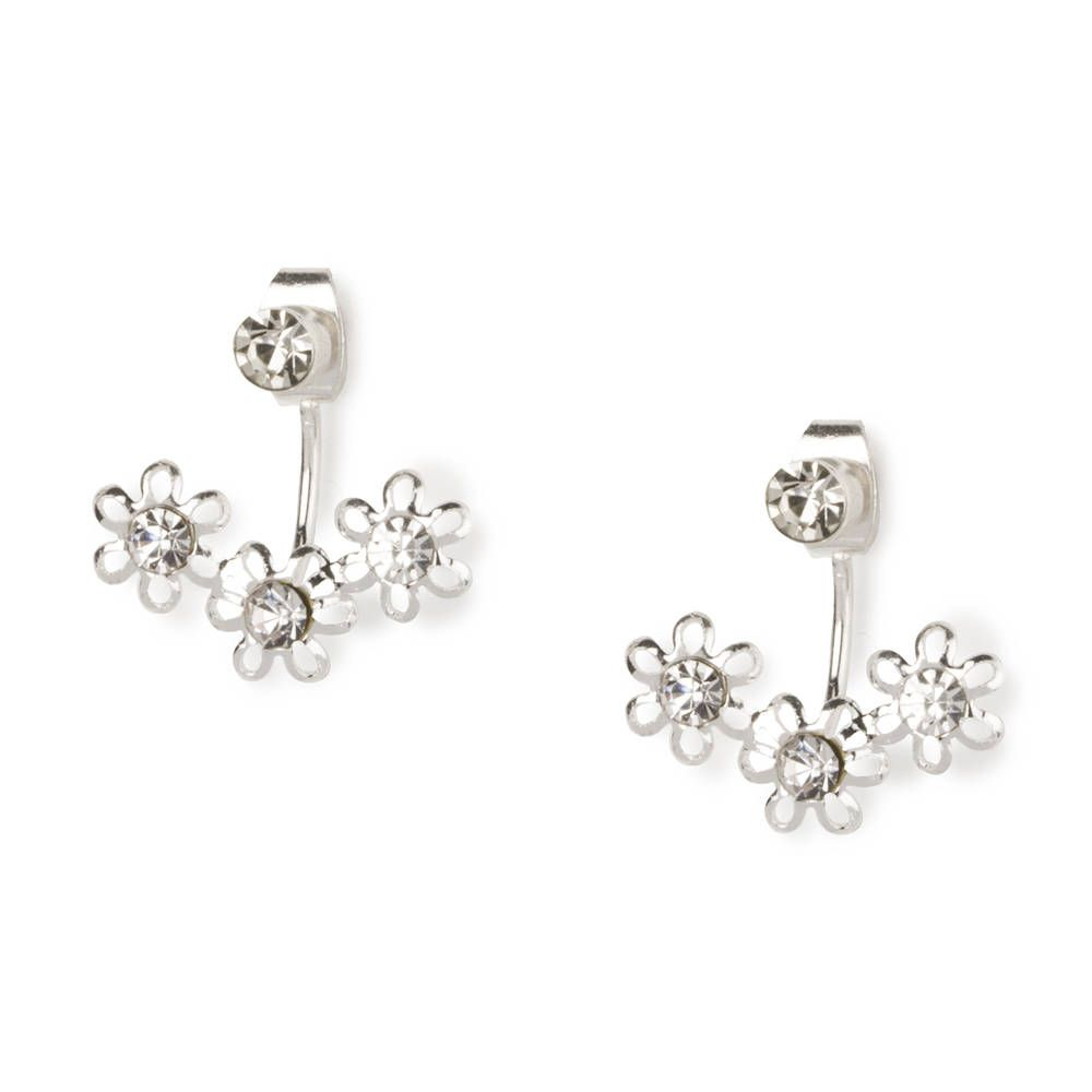 Triple Daisy Front And Back Earrings  Claire's