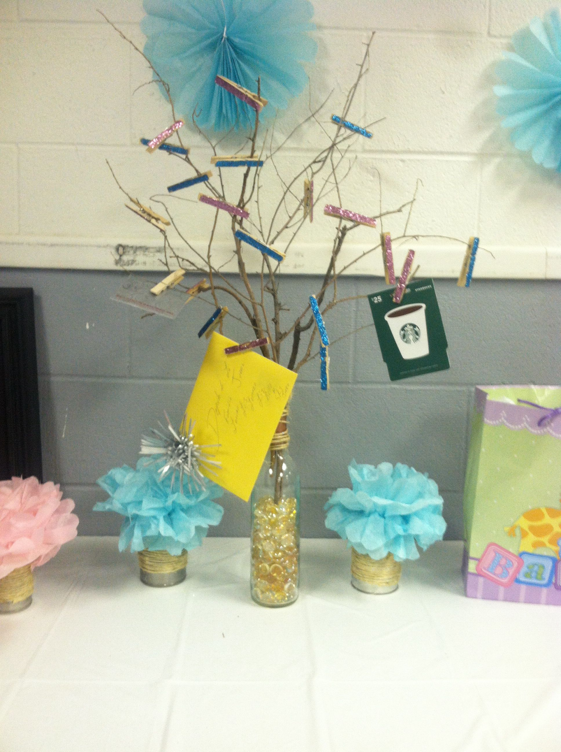 Gift card tree for baby shower - Gift Card Tree For Gender Reveal Baby Shower Made Out If A Wine Bottle