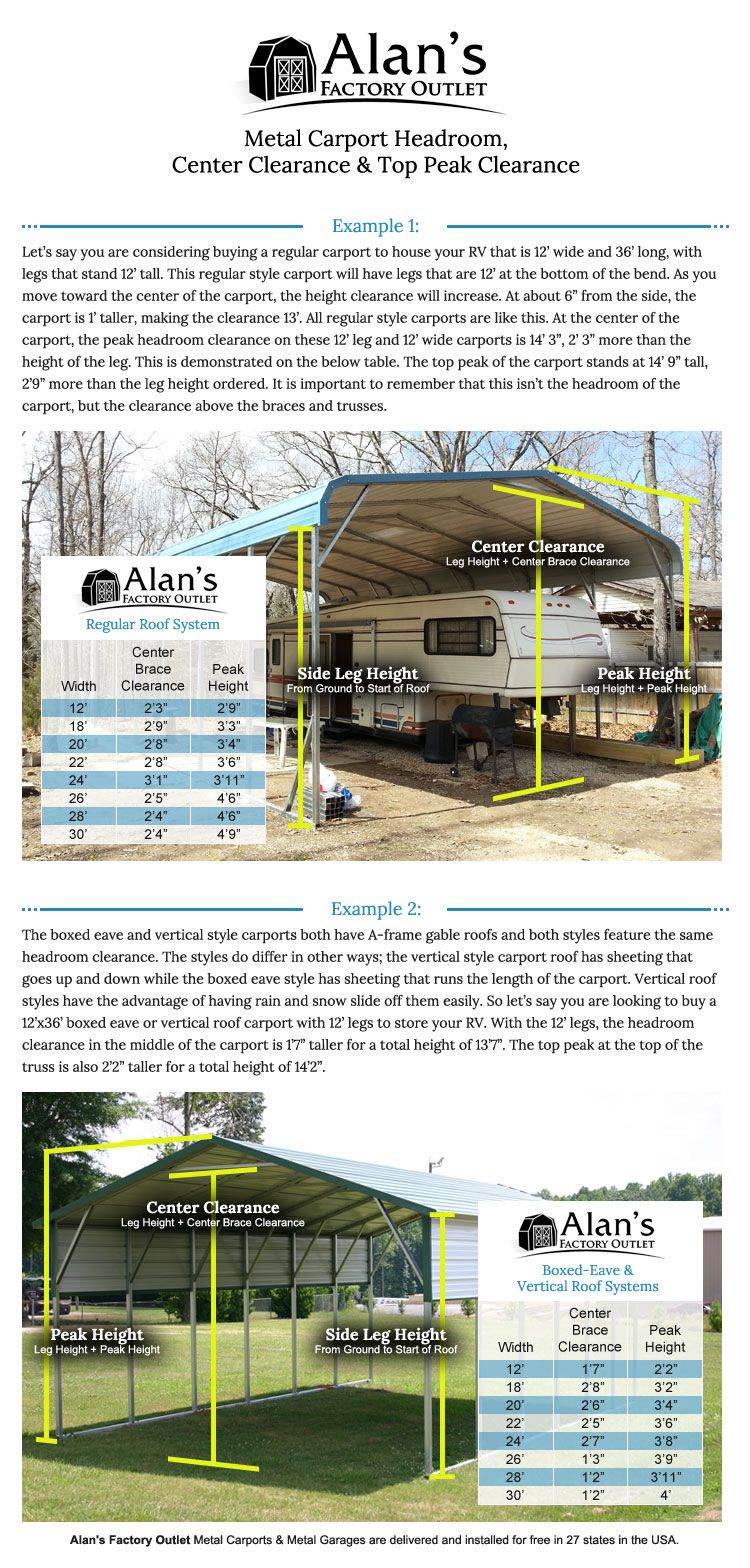 Carport Height alans factory outlet Rv carports