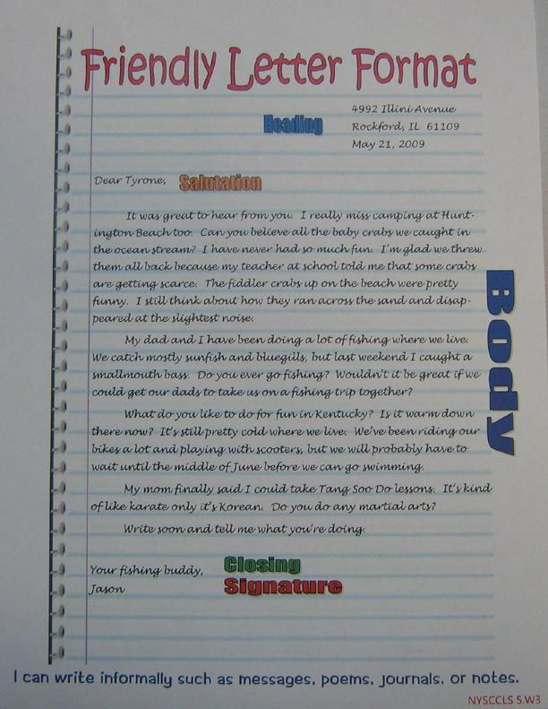 Friendly Letter Format Anchor | 5Th Grade Sra Imagine It