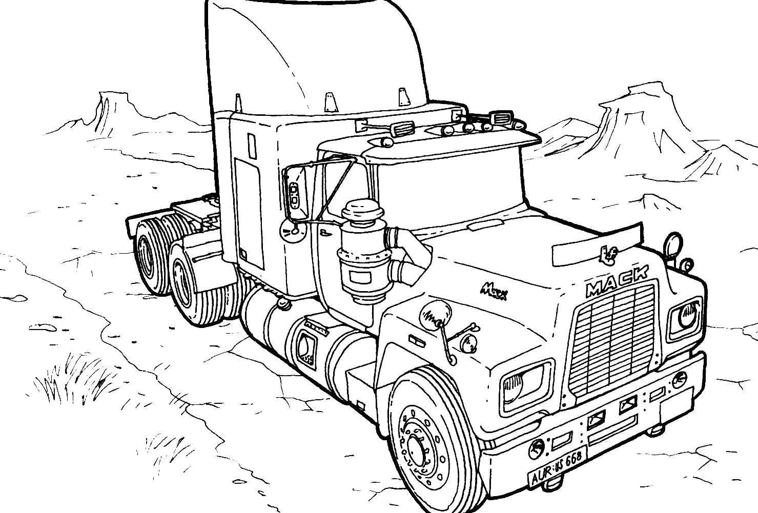 Big Mack Truck Coloring For Kids | MACK TOUGH | Monster truck ...