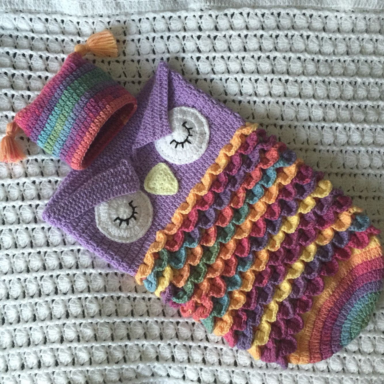 Completed Owl Baby Cocoon & Hat . Crochet. Crocodile stitch . Used 2 ...
