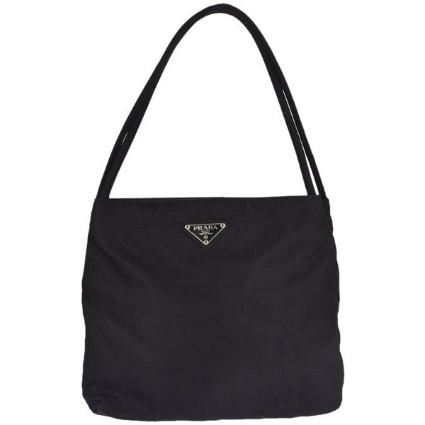 a61ef4b760b8 Black Handbags · Crochet Shoulder Bags · Pre-owned Prada Logos Nylon Silver  Italy Vintage 07w335 Shoulder Bag ($148) ❤