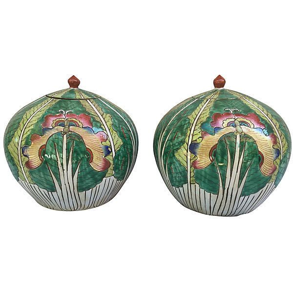 Pre-Owned Lotus Flower Ginger Jars Pair ($575) ❤ liked on Polyvore featuring home, home decor, decorative accessories and lotus flower home decor