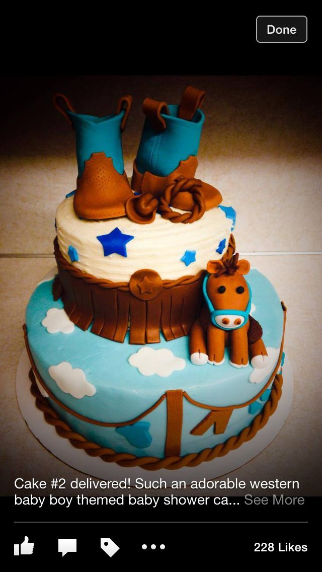 Cowboy Baby Shower Cake With Images Baby Shower Cakes For Boys
