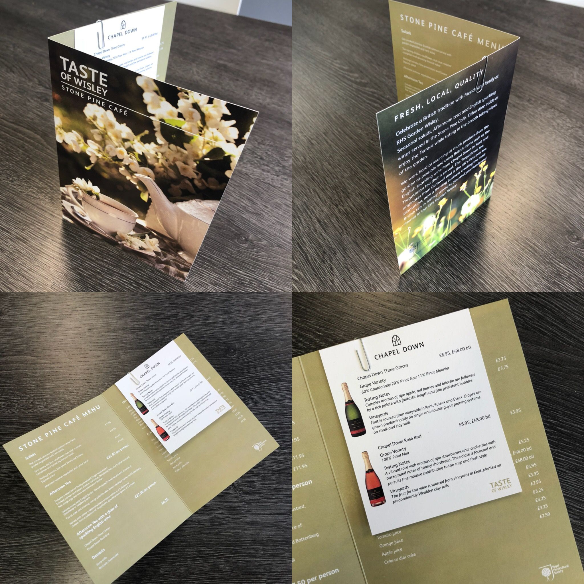 designed printed cut and folded menu design for the gardens at