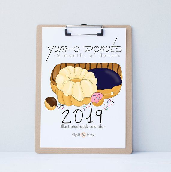 2019 Wall Calendar - Monthly Calendar of My Original Donut Prints