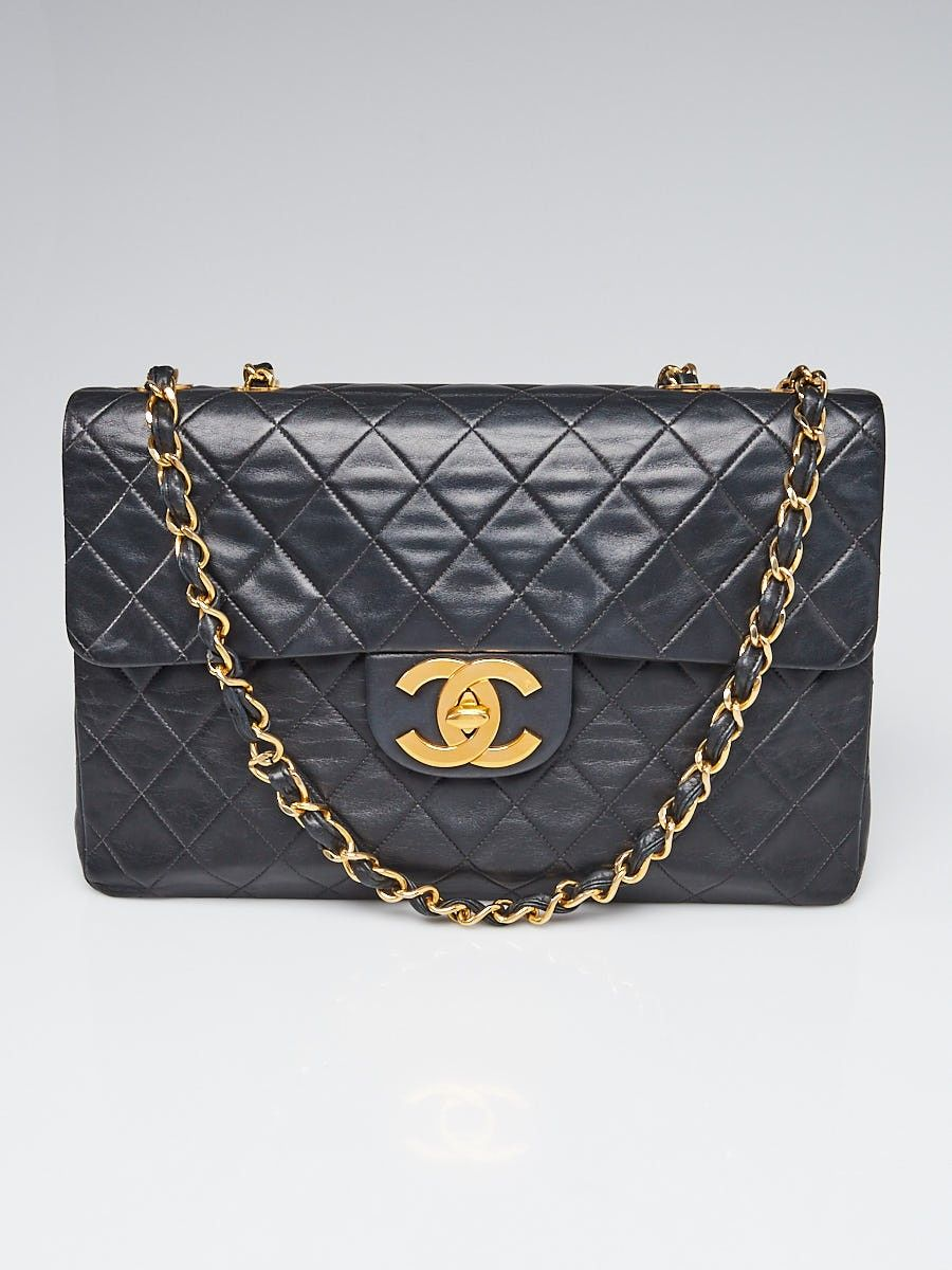6d956e8952f7 Chanel Vintage Black Quilted Lambskin Leather Classic Maxi Jumbo XL Flap Bag
