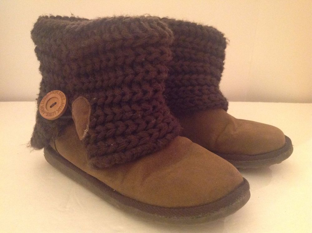 Muk Luks Ankle Boots Womens 6 Brown Faux Suede W Sweater Knit Cuff