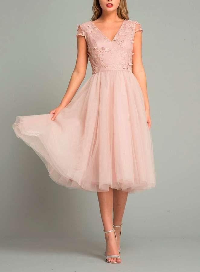 Chi Chi London Mink 3d Floral Midi Skater Dress Dresses Blush Dresses Wedding Guest Dress