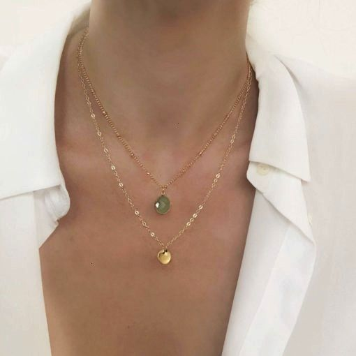 necklace 2020 medal and inexperienced stone Multirang pierFashionable necklace 2020 medal and inexperienced stone Multirang pier Disque en couches colliers ensemble de de...