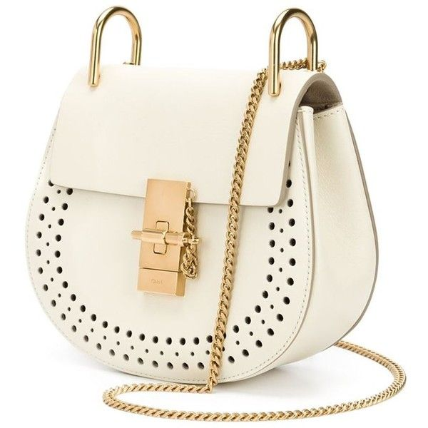 Chloé 'Drew' perforated shoulder bag (6,880 PEN) ❤ liked on Polyvore featuring bags, handbags, shoulder bags, chain strap purse, locking purse, chain shoulder bag, kiss-lock handbags and chloe purses