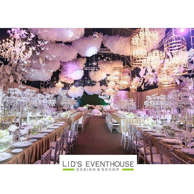 Decor Inside Wedding Reception Heaven Inspired Clouds White Birds Etc