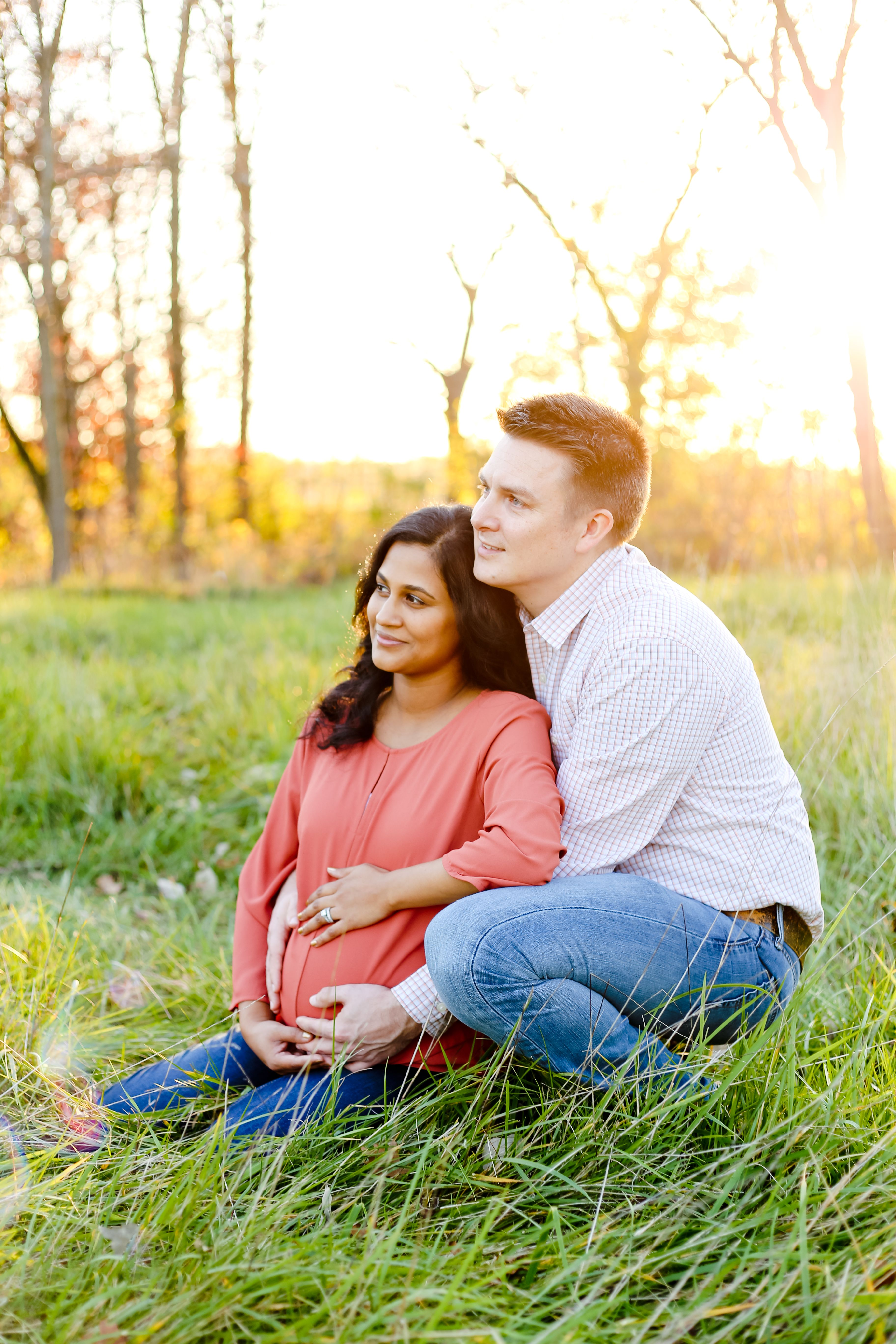 Franklin, Wisconsin, rustic outdoor sunset maternity photography session. Photo by Kelsey Jorissen Photography.