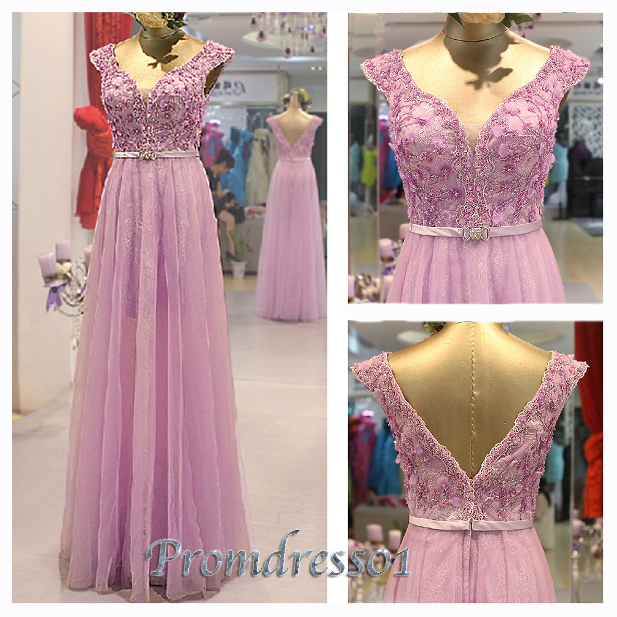 Vneck lavender chiffon long senior prom dress Handmade item ...