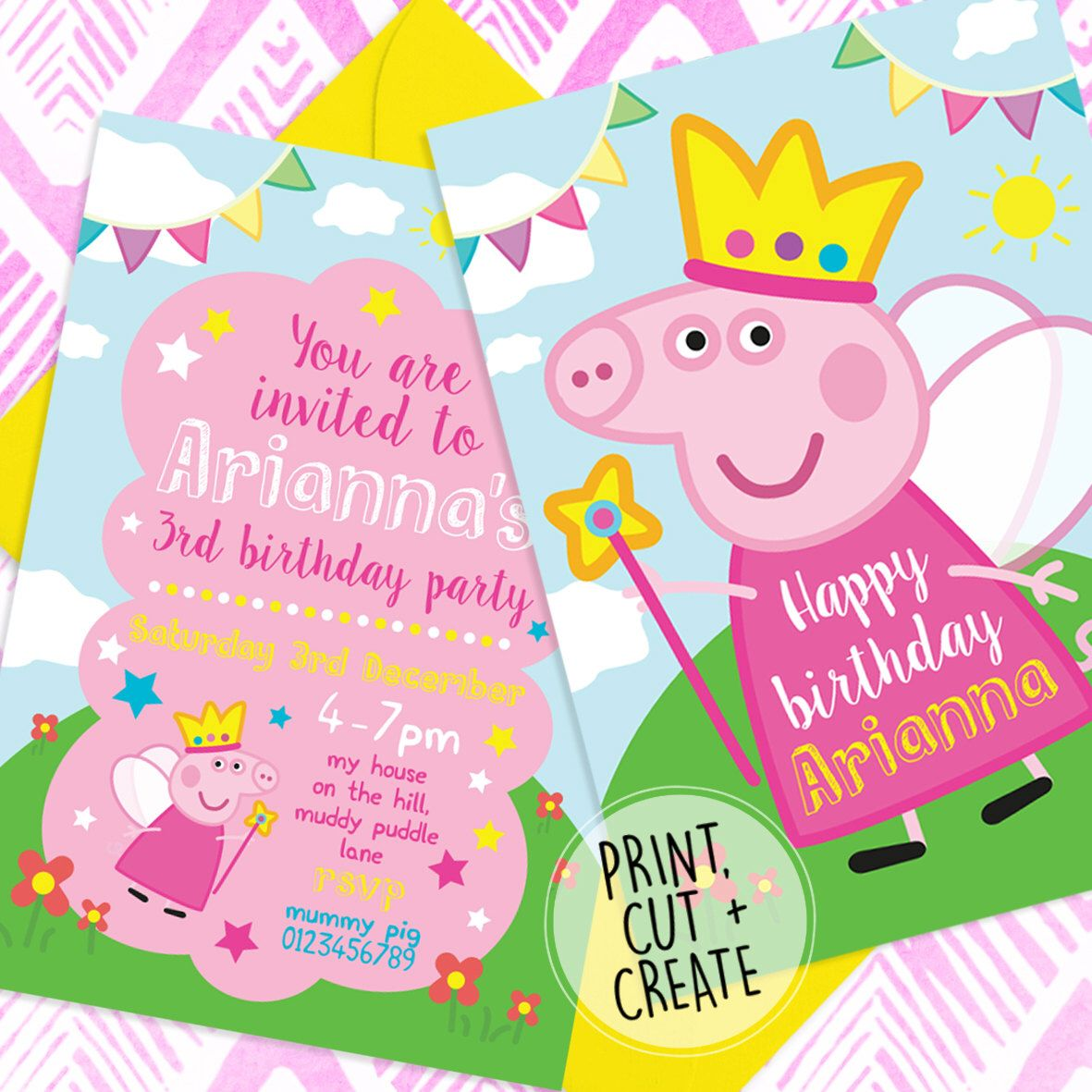 image regarding Peppa Pig Printable Invitations named Printable Electronic History Customized Princess Fairy Peppa Pig
