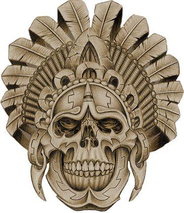 f13b6b68498a9 Aztec Warrior Skull …   Artwork I like in 2019…