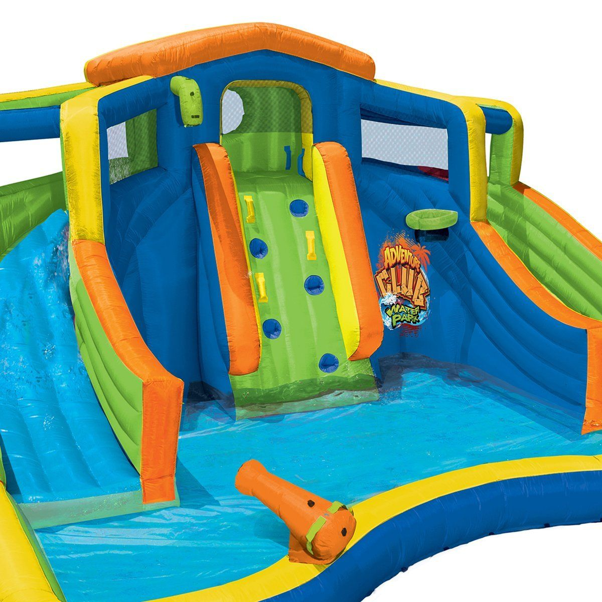 Banzai Inflatable Adventure Club Dual Slide And Pool Backyard Water Park Backyard Water Parks Inflatable Water Park Backyard Pool