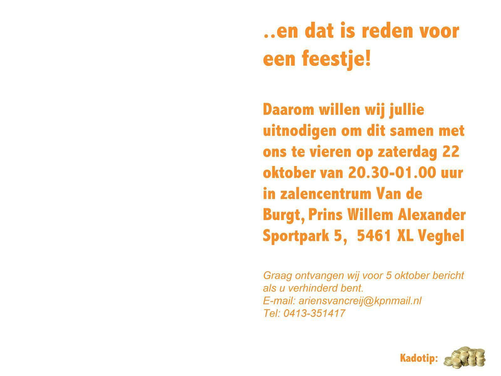 Ongebruikt Voorbeeld Uitnodiging Verjaardag : Voorbeeld Uitnodiging CE-19