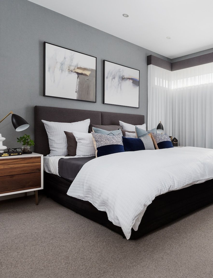 Modern Master Bedroom With Grey Wallpaper Design And White Bedding From Metricon Grey Bedroom Design Modern Master Bedroom Bedroom Interior