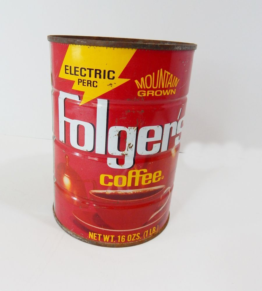 Metal Folger S Coffee Can 16 Oz Empty Craft Uses Home Decor Country Wedding Red Folgers