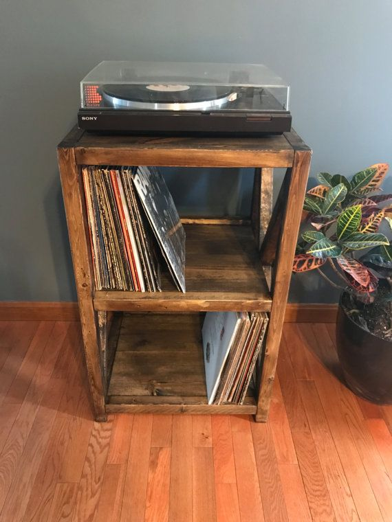 Rustic Record Player Stand Vinyl Storage X Cross Feature Shabby