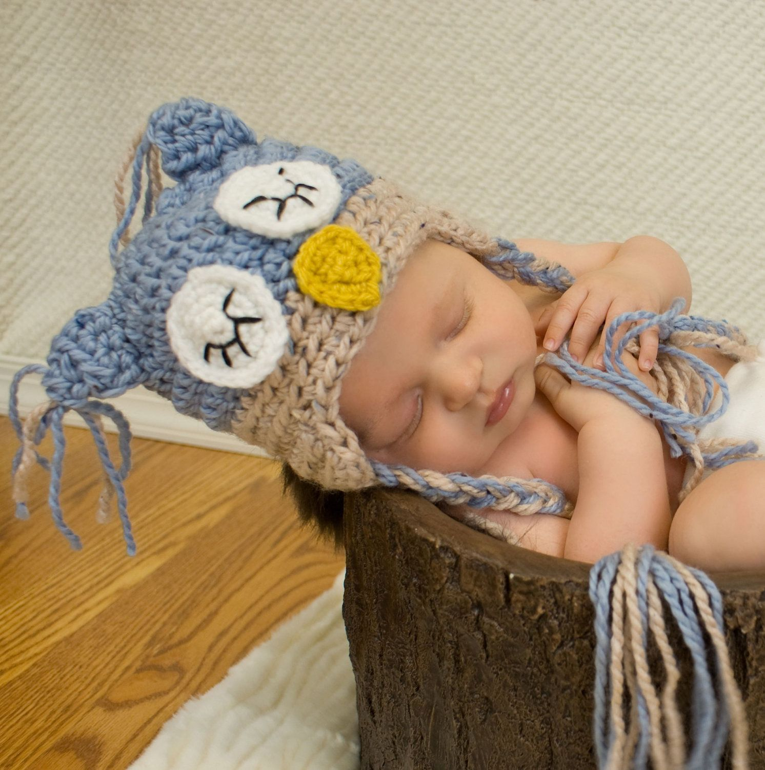03 month blue brown owl baby hat and by beautifulmesscrochet