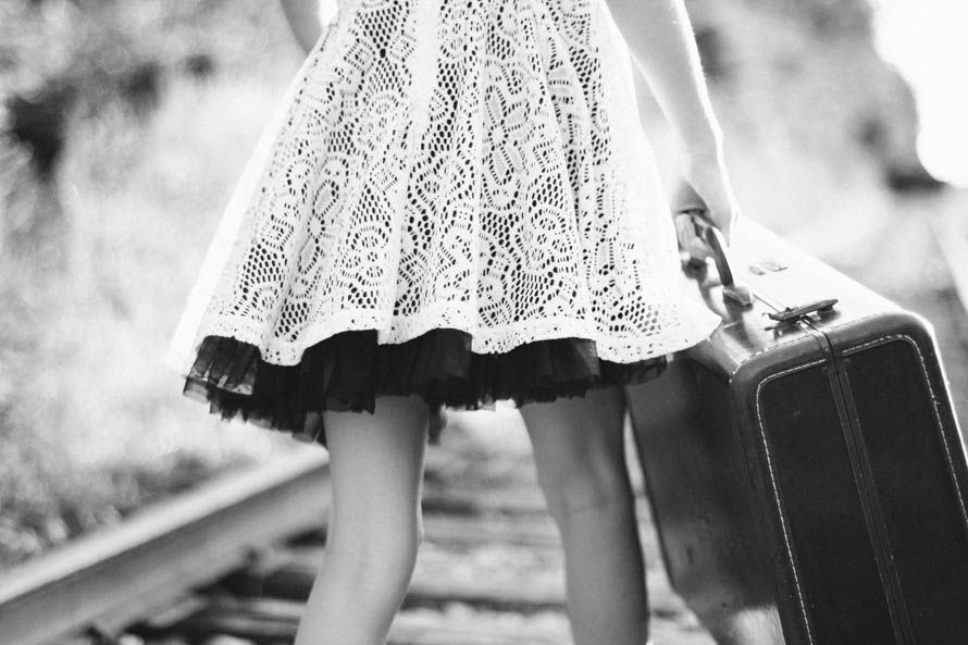 Public Domain Images- Black And White Vintage Suitcase Girl Railroad Tracks Walking