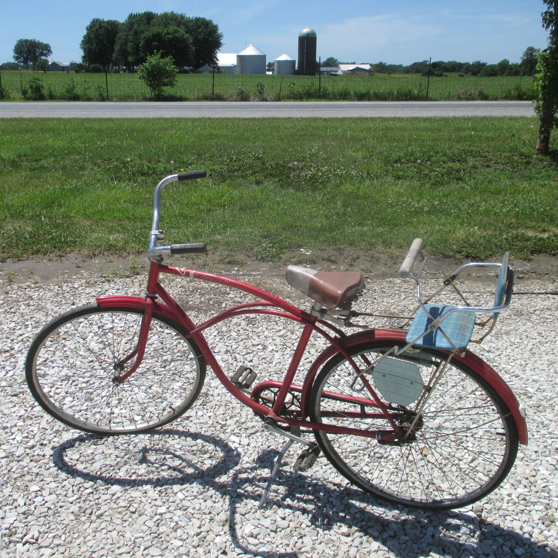Red Vintage Bicycle 40s 50s Mid Century Messinger Seat Schwinn Western Flyer Mid Century Bike Vintage Bicycle Men Gift Buying Guide Vintage Bicycles Bicycle
