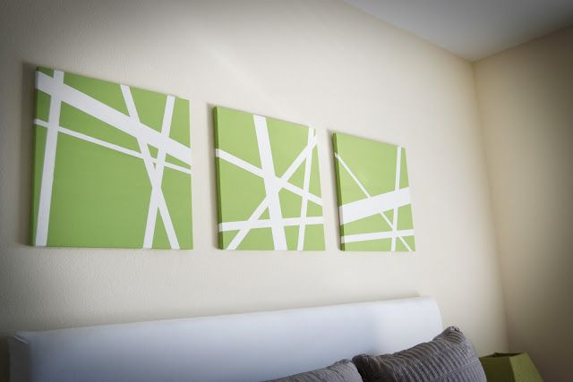 Canvas + Painters Tape + Paint = cheap art (for the green room)  Great idea to match any room color! Basement bathroom maybe?