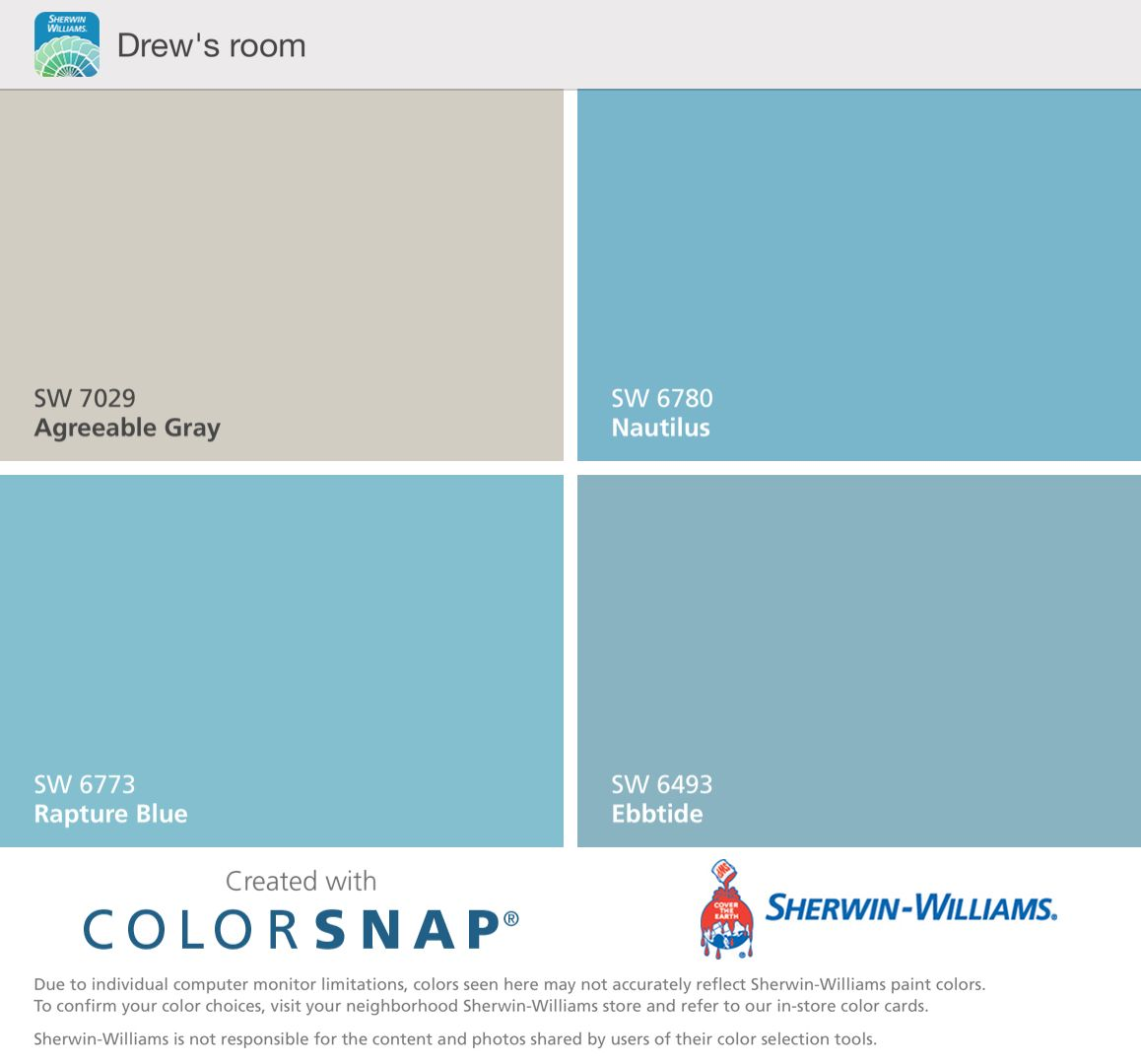 Our Room Sw Blues And Agreeable Gray Sherwin Williams Paint Colors Sherwin William Paint Sherwin Williams Store [ 1080 x 1158 Pixel ]