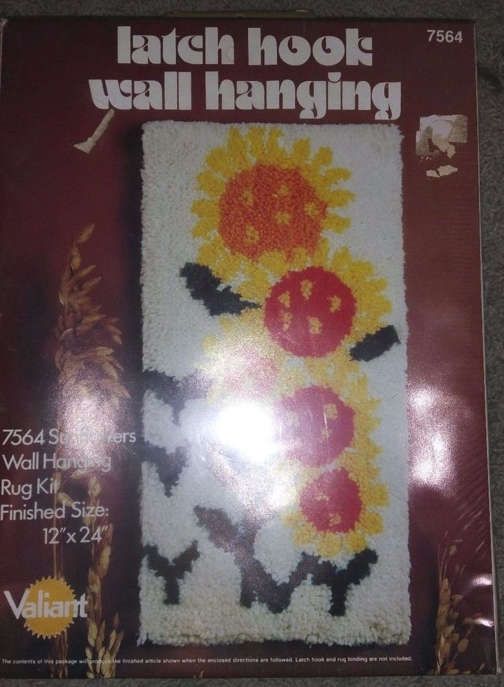 "Valiant Latch Hook Sunflowers Kit #7564 Vintage Sealed 12""x24""NEW SEALED"