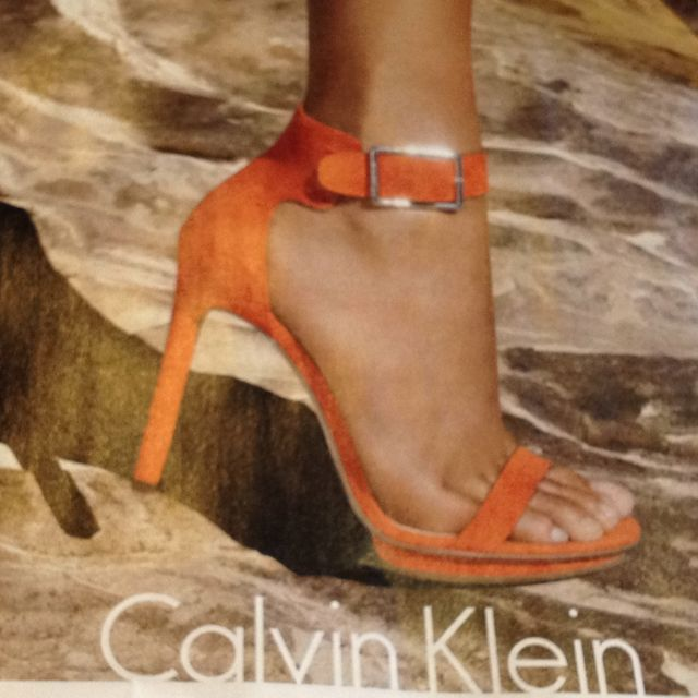 Calvin Klein ad from Cosmo! I so want these shoes! Let me know if you see them, I am getting them!