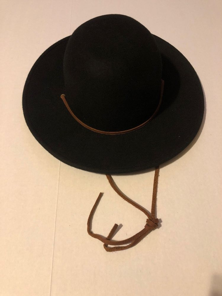 da44209ca Brixton Men's Tiller Wide Brim Felt Fedora Hat Black Medium 7 1/4 ...