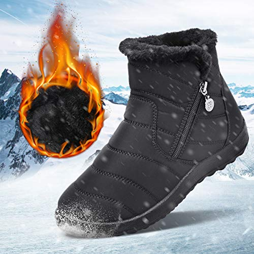 Men Outdoors Snow Boots Winter Waterproof Anti-Slip Thermal Fur Lined Shoes Size