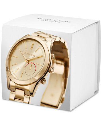 09112dc42ded Michael Kors Access Women s Slim Runway Hybrid Gold-Tone Stainless Steel  Bracelet Smart Watch 42mm MKT4002