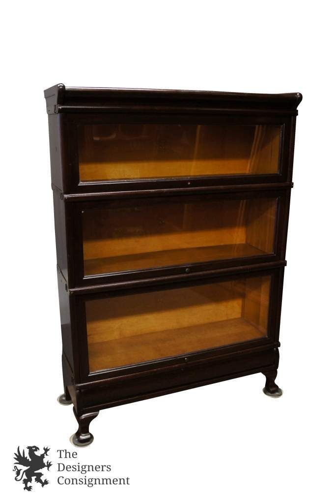 Mid Century Macey Mahogany 3 Stack Gl Front Barrister Bookcase Lawyer Mission The Designers Consignment