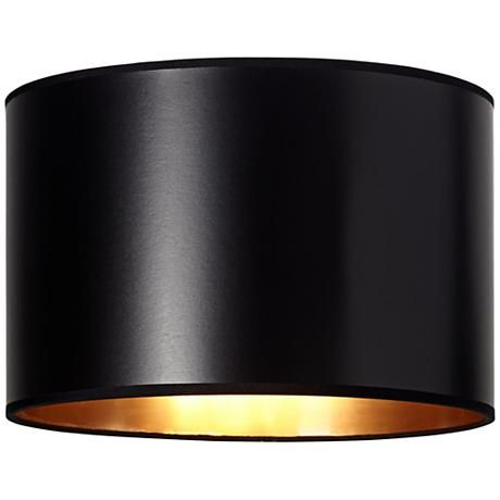 Black Paper Drum Shade With Gold Lining