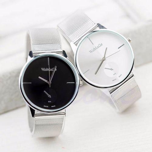 New-Fashion-Classic-Women-039-s-Men-Quartz-Analog-Stainless-Steel-Silver-Wrist-Watch
