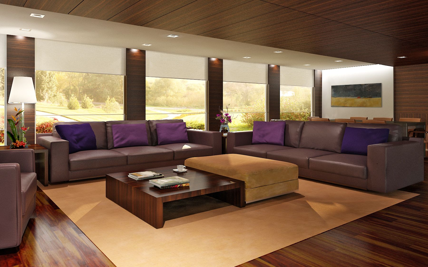 Decoration Curtain Wall In Modern Formal Living Room Design Ideas With Purple Pillo Elegant Living Room Design Purple Living Room Modern Furniture Living Room