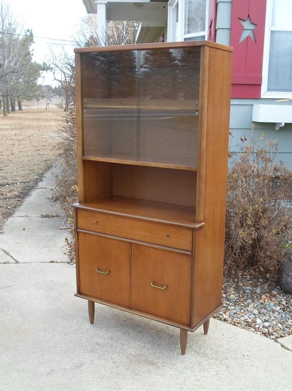 Vintage Mid Century Modern China Hutch Danish Dark Walnut Glass Sliding Doors Brass Hardware