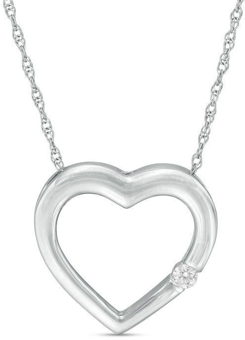 Diamond accent heart pendant in 10k white gold white gold diamond accent heart pendant in 10k white gold white gold pendants and diamond aloadofball Image collections