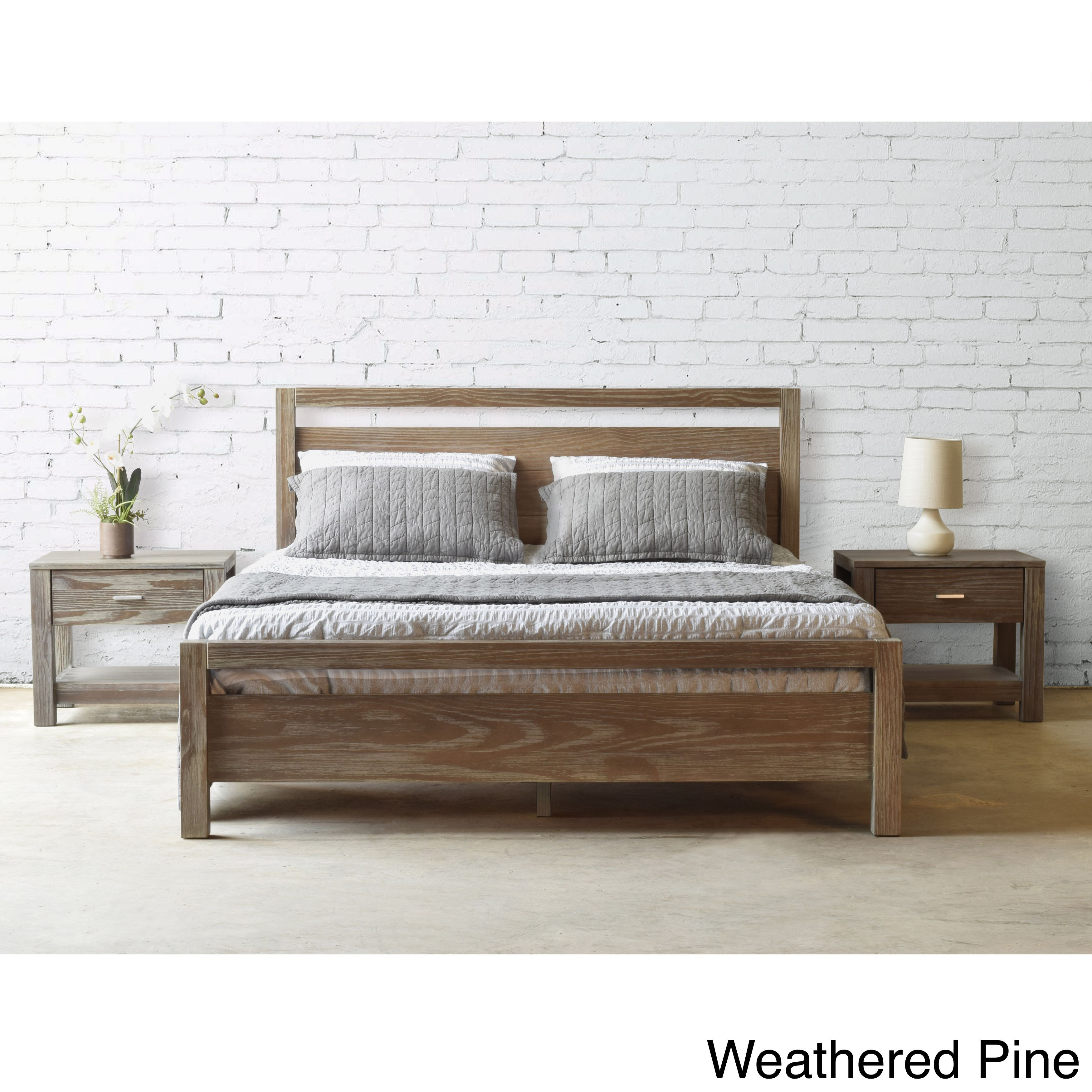 Grain Wood Furniture Loft Solid Queen Size Panel Platform Bed Weathered Pine Brown