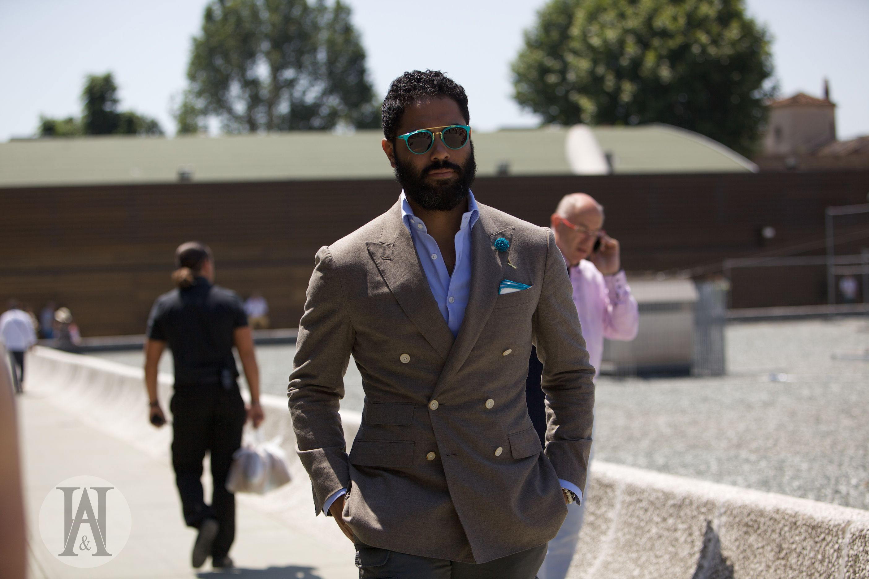 Pitti uomo button double breasted summer suit wedding suits
