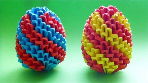 DIY Origami (Modular) Osterei 3D Geschenk zu Ostern Anleitung, EASTER EGG TUTORIAL GIFT IDEAS #origamianleitungen