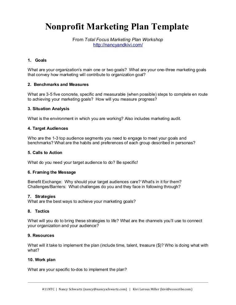 nonprofit-marketing-plan-template-summary by Kivi Leroux Miller via - Non Profit Proposal Template