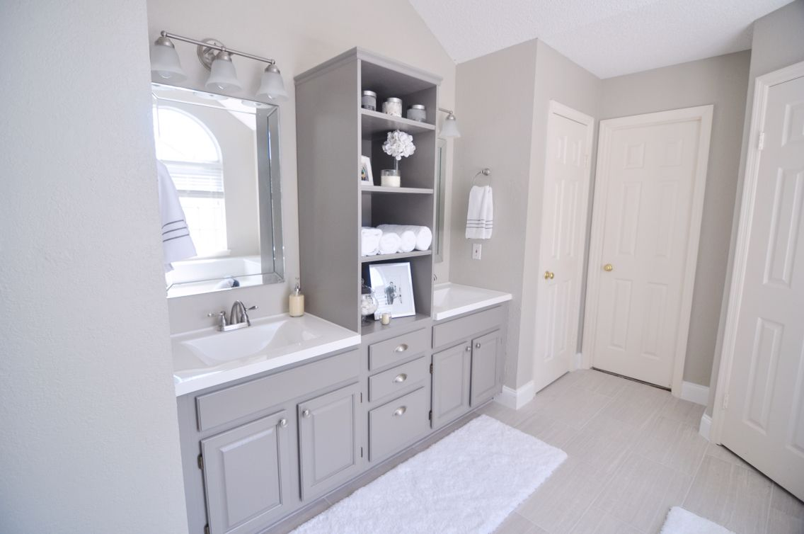 Master Bath But With White Cabinets Wall Color Benjamin Moore Revere Pewter Cabinet Co Bath Remodel Bathroom Remodel Small Budget Bathroom Remodel Small Diy